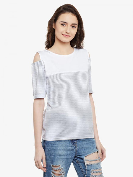Take A Hint Striped Cold Shoulder Top