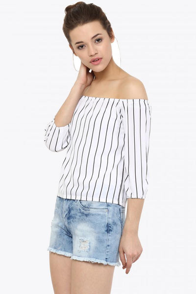 Uptown Stripe Bardot Off Shoulder Top