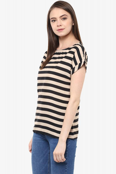 Stripes And Sunshine Boat Neck Striped Top