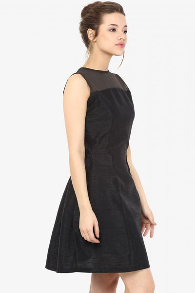 Falling Hard For You Sheer panel Skater Dress