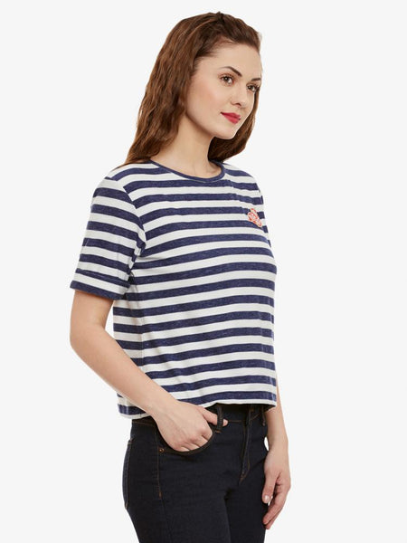 Dual Vision Striped Patch Top