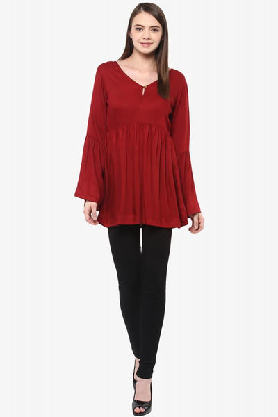 Flow Along Gathered Bell Sleeve Top