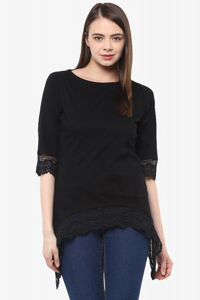 Anything Goes Assymetrical Lace Top