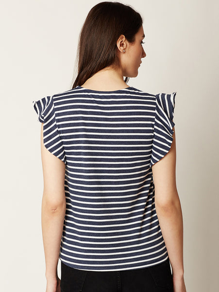 The Good Life Ruffled Striped Top