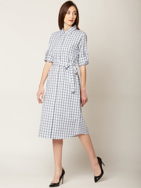 Walking On Sunshine Checkered Shirt Dress
