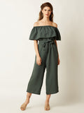 Miss Chase Go Your Own Way Bardot Jumpsuit Clothing
