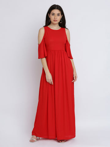 Breezy Meadow Cold Shoulder Maxi Dress