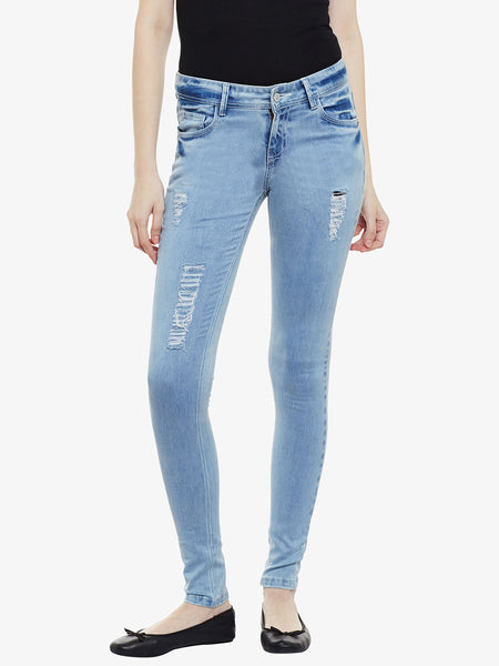 Overland Destroyed Stretch Acid Wash Jeans