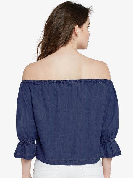 Invest In You Denim Bardot Top