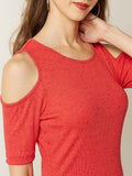 Snap Up Cold Shoulder Top