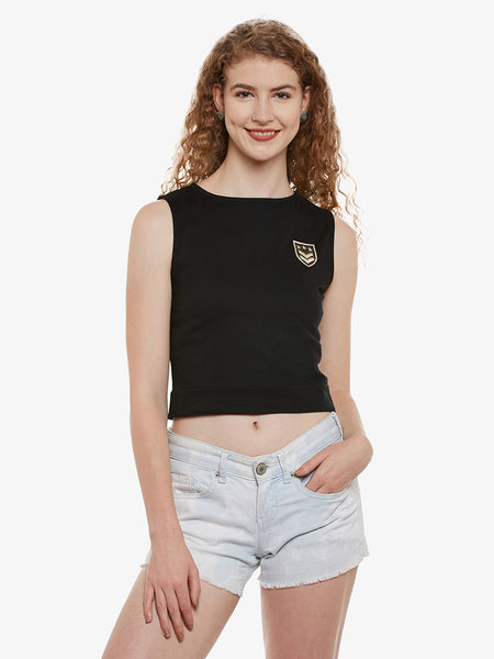 Girls Night Out Patched Crop Top