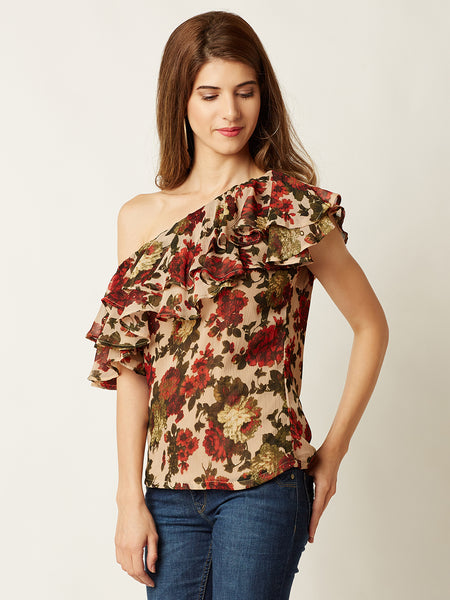 My Own Way One Shoulder Ruffled Top