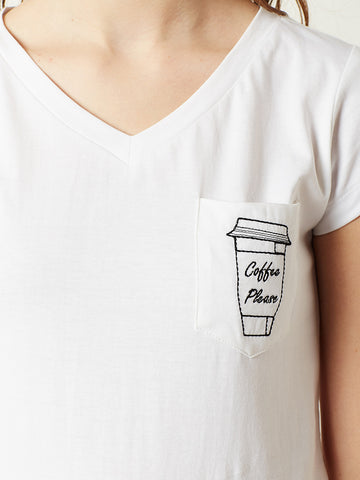Coffee Please V-Neck T-shirt