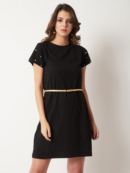 Street Wheel Pearl Sleeve T-shirt Dress