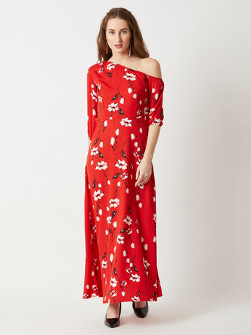 Water Puddles One Shoulder Maxi Dress