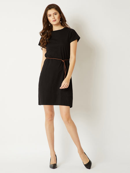 Parting Clouds Belted T-Shirt Dress