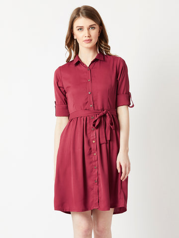 Independent Woman Belted Shirt Dress
