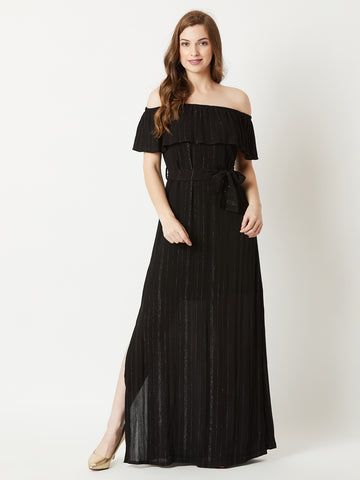 Arabian Nights Belted Bardot Maxi Dress