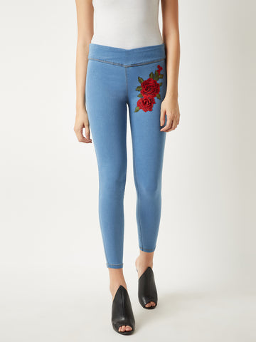 Little Box Patch Skinny Jeggings