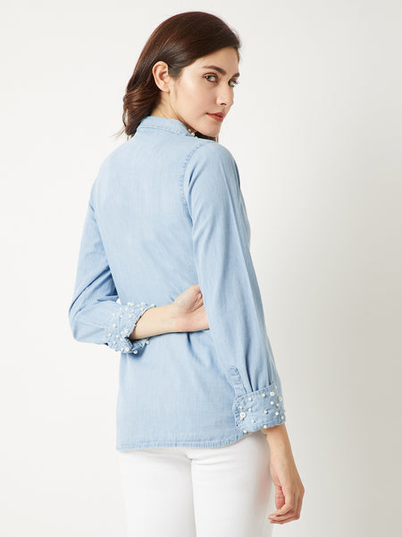 Butterfly Away Pearl Denim Shirt