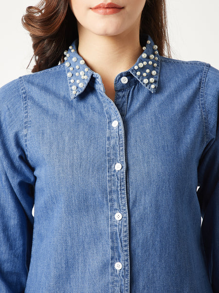 Chill At Work Pearl Denim Shirt