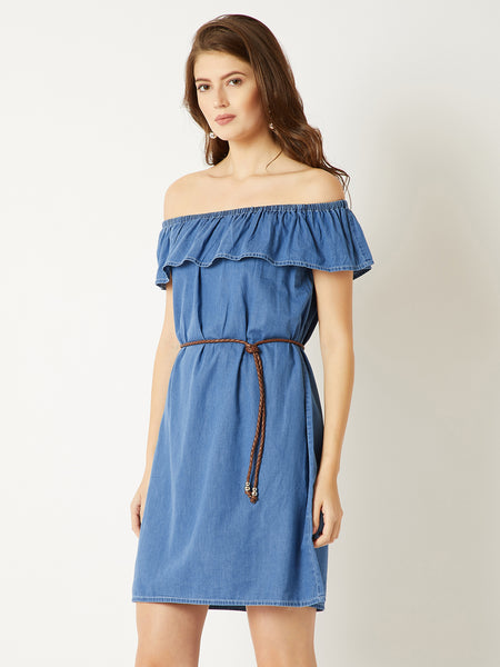 Free Yourself Denim Bardot Dress