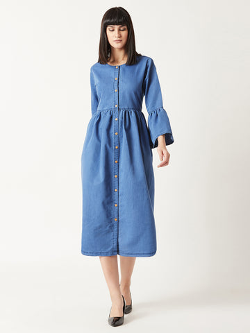The Florida ruffle sleeves denim dress