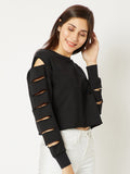 Be Your Best Slit Sleeve Crop Sweatshirt