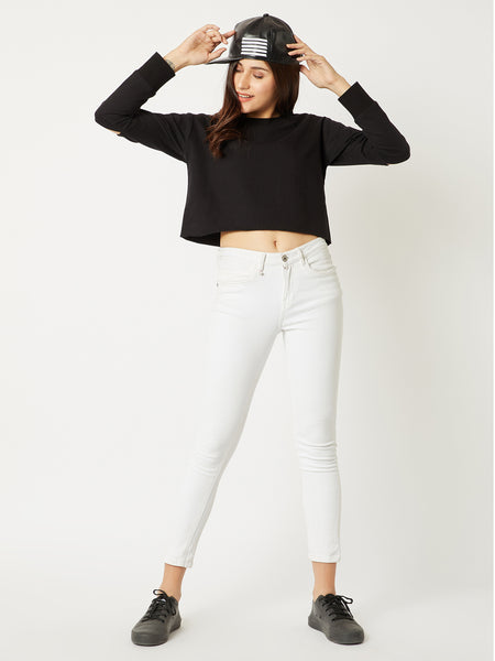 I Fall Apart Slit Sleeve Crop Sweatshirt