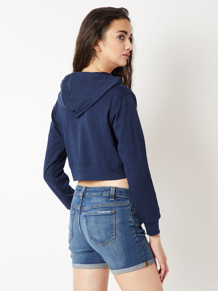 Teenage Dream Zip Up Hooded Crop Sweatshirt