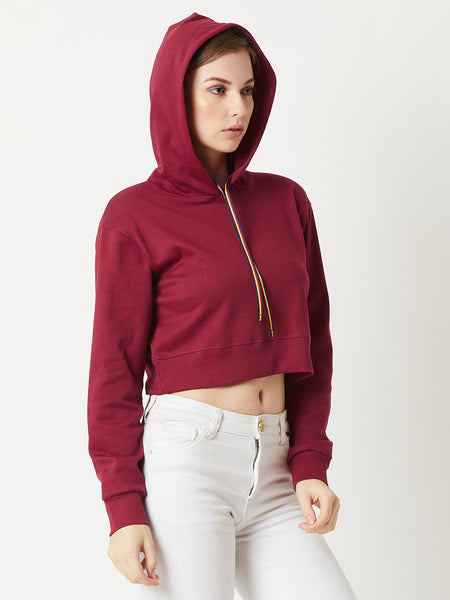 Time Will Tell Hooded Crop Sweatshirt