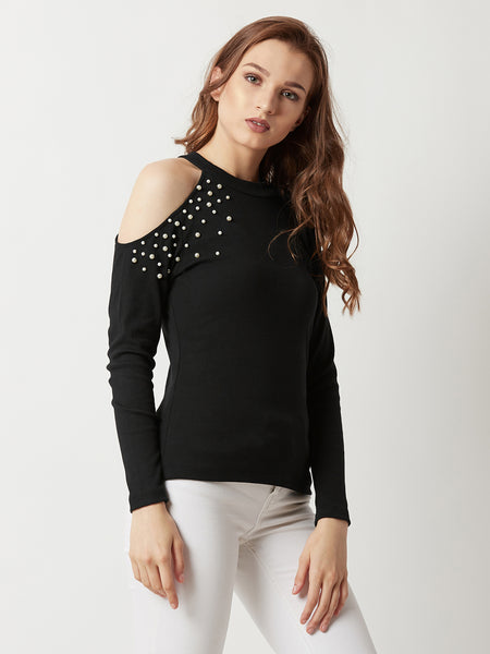 So Invincible Cut Out Pearl Top