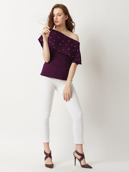 The Unstoppable One Shoulder Pearl Top