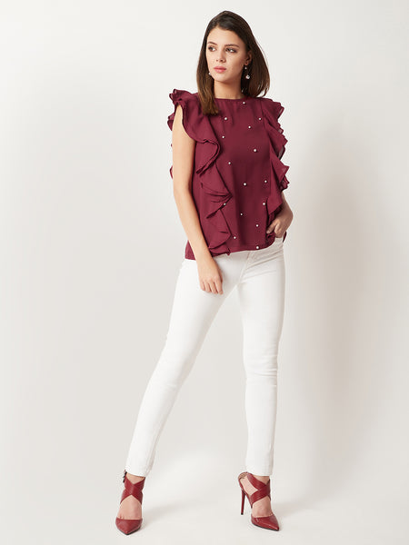 Cruel World Ruffle Sleeve Pearl Top