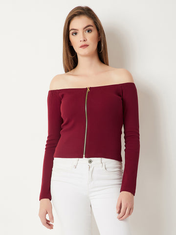 Vast Ocean Zipper Bardot Top