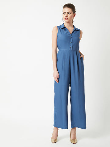 Posh It Real Shirt Style Jumpsuit