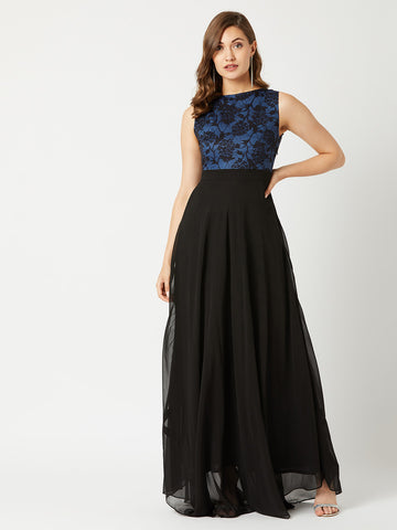 Just My Imagination Maxi Dress Blue & Black