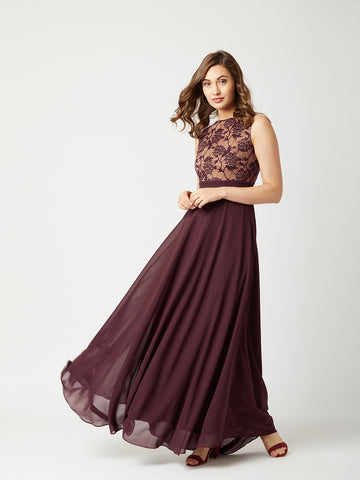 Just My Imagination Maxi Dress Beige & Wine