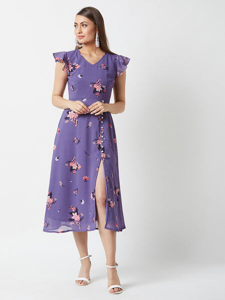 What Do You Mean Ruffle Sleeve Midi Dress