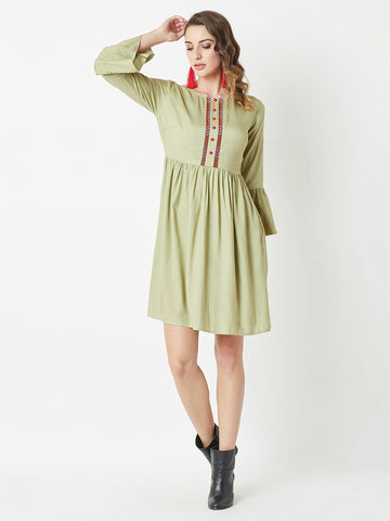 Before I Let Go Gather Sleeve Dress