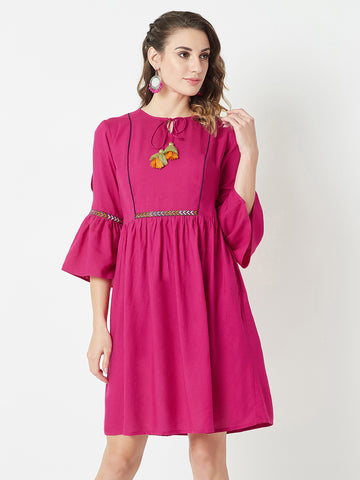 No Brainer Tie-Up Midi Dress