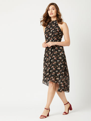 Floral Detailed High Low Dress