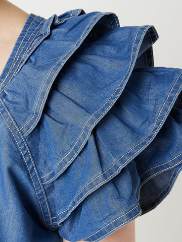 Reset For The Day Cropped Denim Jacket Blue
