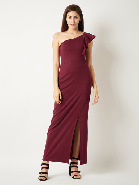 Centered Gravity One Shoulder Maxi Dress