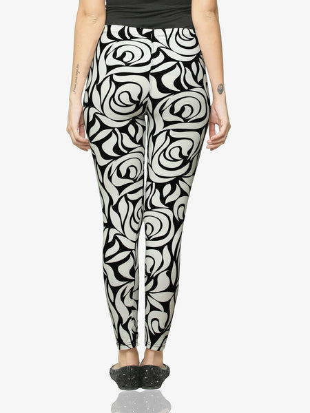 Abstract Floral Printed Leggings