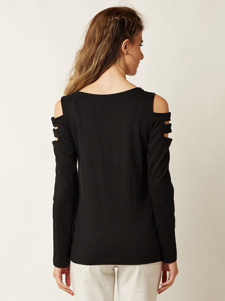 Classy Long Shoulder Cut Out Top
