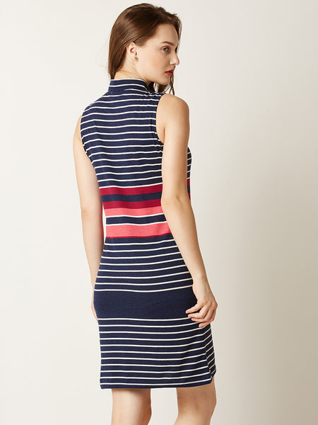 Higher Than The Striped Polo T-Shirt Dress
