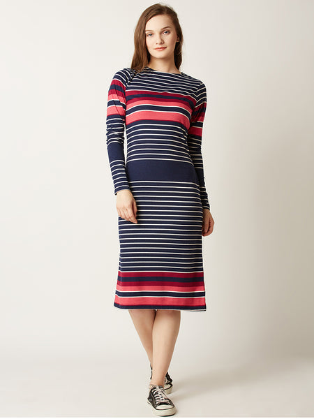 Think Straight Multistriped Midi Dress