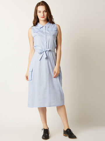 Tied For The Finish Shirt Dress