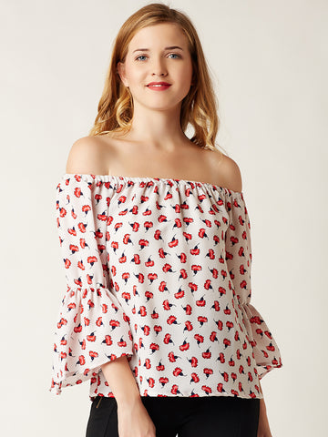 Bardot Heat Wave Printed Top